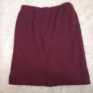 Pendleton Plaid houndstooth Vintage Skirt wool